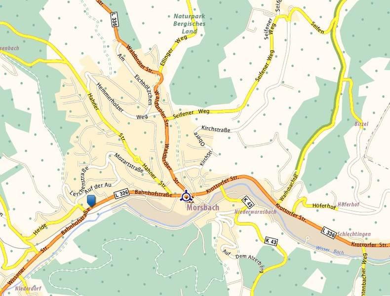Karte für die Anfahrt zum SV Morsbach