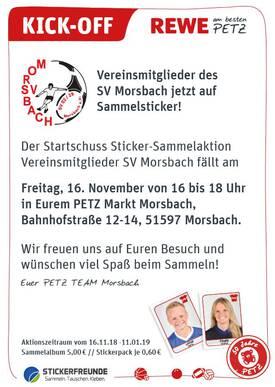 Fußball News Stickeralbum vom SV Morsbach